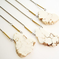 White Howlite Turquoise Necklace - Organic Freeform Slab - Bohemian - Layering Necklace
