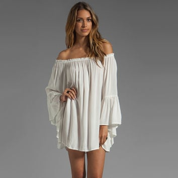 White Long Ruffled Sleeve Chiffon Off-shoulder Dress