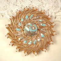 Rose Gold Turquoise Aqua Blue & Ivory Pearl Sash Brooch or Hair Comb, Large Round Vintage Bridal Head Piece or Pin,  Rustic Country Tiffany