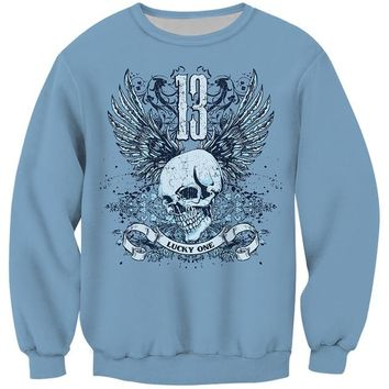 Skull 13 Print O-Neck Long Sleeve Men Sweatshirt