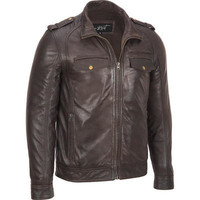 Black Rivet Leather Banded Bottom Military Jacket - View All - Men's - Wilsonsleather - Categories - Wilsons Leather