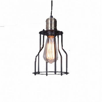 Small wire cage industrial warehouse stair bar counter edison pendant lamp light