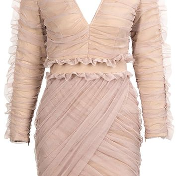 She's Got A Way Beige Sheer Mesh Long Sleeve V Neck Ruched Ruffle Bodycon Mini Dress