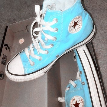 """Converse"" Fashion High tops Wine red Canvas Flats Sneakers Sport Shoes Light blue"