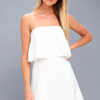 All Night White Strapless Dress