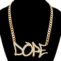 Gold DOPE Graffiti Word Chain Fashion Necklace