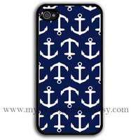 iPhone 4 Case, iphone 4s case, Nautical Anchor iphone 4 case, navy blue anchor iphone 4 case, black iphone 4 case