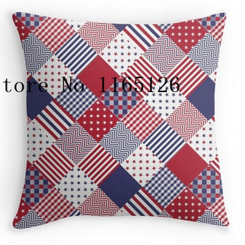 Hot Pillow cases USA Americana Diagonal Red White & Blue Quilt  two sides printing Square Zippered  Pillowcase free shipping