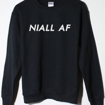 NIall Horan One Direction Fan NIALL AF 1D Black Fleece Sweatshirt