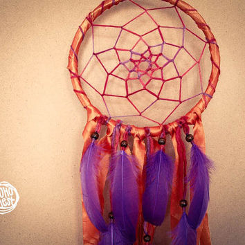 Dream Catcher - Negus - With Stunning Orange Frame and Textiles, Transitional Web and Purple Feathers - Boho Home Decor, Nursery Mobile