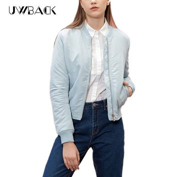 Uwback Bomber Jacket Women 2017 New Blue/Pink Pilots Outwear Bombers Coat Woman Long Sleeve Warm Jacket And Coat TB1076