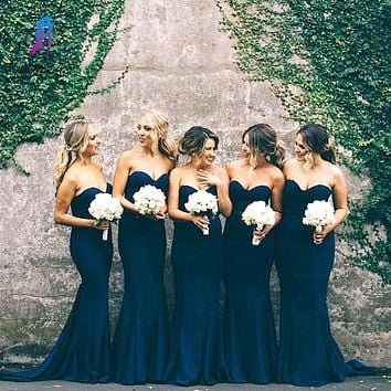 Navy Blue Sexy Satin Mermaid Bridesmaid Dress Sweetheart Off Shoulder For Wedding Party vestido de festa de casamento