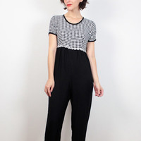 Vintage 90s Jumpsuit Black White Gingham Plaid Daisy Floral Embroidered Wide Leg Jumpsuit 1990s Pants Romper Soft Grunge Clueless S M Medium