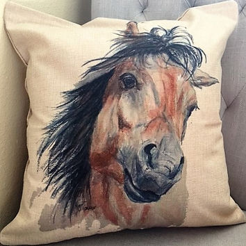 "Cotton Linen Horse Throw Pillow ""I want to play"" by Artist Kathleen Golter Roeth"