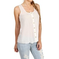 Ivory Sleeveless Button Front Top