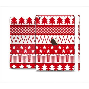 The Red and White Christmas Pattern Full Body Skin Set for the Apple iPad Mini 3