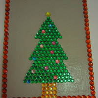 Rhinestone Christmas Tree Canvas