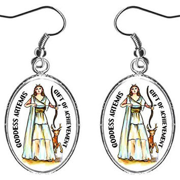 "Goddess Artemis Gift of Achievement 1"" Silver Earrings"