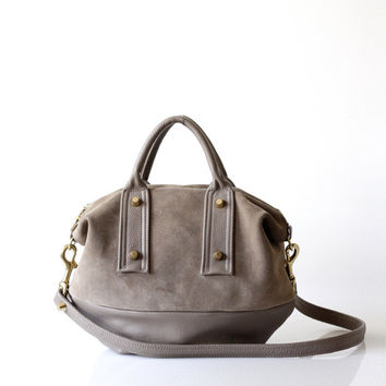 Soft Suede Leather Handbag OPELLE mVanda Mini Convertible Doctor bag in Rocher