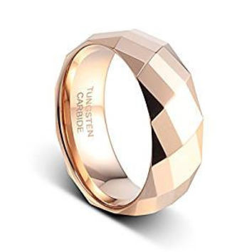 8mm Rose Gold Plated On the Polished Facet Cut Shiny Tungsten Wedding Band Ring (14k, 18k Rose Gold)