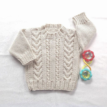 Aran baby sweater - 6 to 12 months - Knit Aran jumper - Baby clothing - Infant Aran sweater