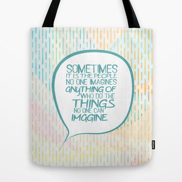 Imitation game.. sometimes the people, alan turing quote Tote Bag by Studiomarshallarts