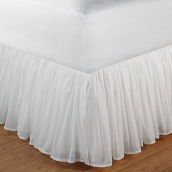 Greenland Home Fashions Cotton Voile Bed Skirt - 18 in. Ruffle - White - Walmart.com