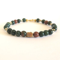 Bloodstone and Raw Citrine Reiki Infused Bracelet / Bloodstone Bracelet / Protection, Aura Protector, Chakra Cleanser / Reiki Infused