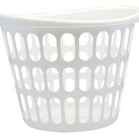 United Solutions LN0019 White Two Bushel Plastic Designer Laundry Basket - 2 Bushel Laundry Bin Designer in White