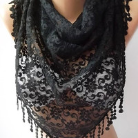 Mother's Day Gift  Elegant scarf Lace Triangle Scarf -It made with good quality Lace black