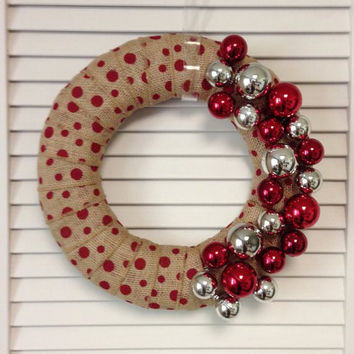 "Christmas Wreath, 12"" Red Polka Dot Burlap Christmas Wreath"