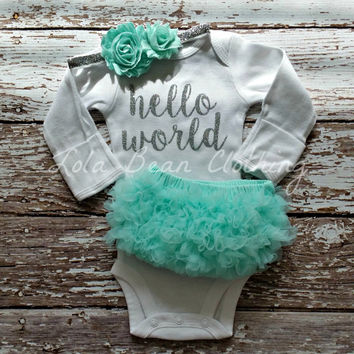 Baby Girl Take Home Outfit Newborn Baby Girl Hello World Onesuit Mint Bloomers Mint & Silver Headband Set Lola Bean Clothing