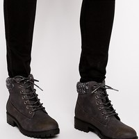 New Look | New Look Alvin Knit Collar Ankle Boots at ASOS