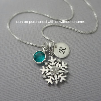Personalized Snowflake Necklace, Flower Gift Necklace, Christmas Gift Necklace, Winter Wedding Necklace, Bridesmaid Necklace, Gift for Her