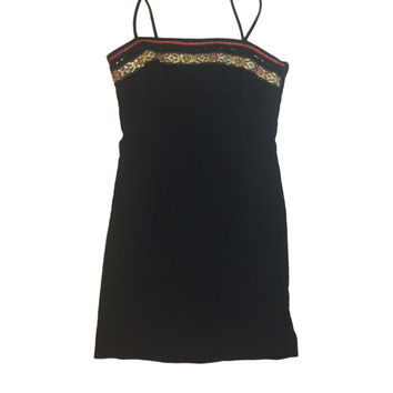 90s Black Mini Dress with Classical Style & Black Sequin Trim // A-Line Mini Dress // Rampage//  Size 9