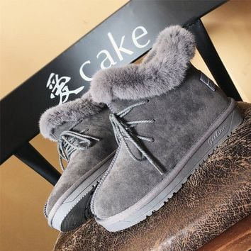 Hot Deal On Sale Thicken Cotton Shoes Winter Flat Anti-skid Boots [47581790215]