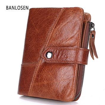BANLOSEN Genuine Leather Men Wallets European And American Style Wallet Zip Coin Pocket Leather Purse Man Leather Wallet