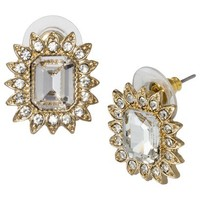 Button Sunflower Earrings with Rhinestones - Gold