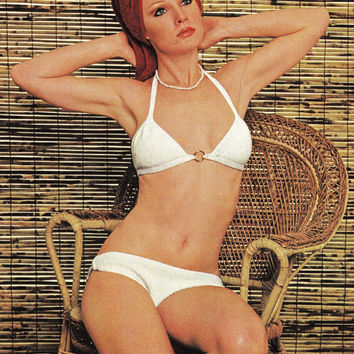 PDF Instant Download Vintage crochet white Bikini elegant Swimwear Bathing Suit crochet pattern vtg knitted supplies epsteam white pattern