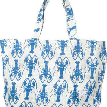 Coastal Print Jute Beach Tote Shoulder Bag (Lobster (Ocean Blue))