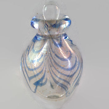 Hand Blown Murano Art Glass Perfume Bottle with a Blue Swirls and Gold Speckles