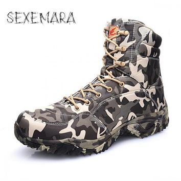 High quality winter Camouflage shoes Men army Boots Commando Combat Boots Tactical Camouflage Boots Waterproof Shoes