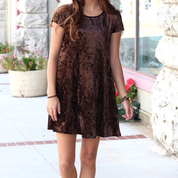 Velvet Love Short Sleeve Swing Dress {Chocolate}