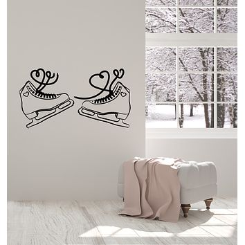 Vinyl Wall Decal Ice Skates Figure Heart Romance Sports Stickers Mural (g1514)