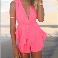 Sleeveless V-neck Sexy Jumpsuit MY0075FY