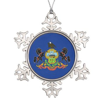 Snowflake Ornament with Pennsylvania Flag