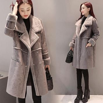 Winter Woman Shearling Winter coat women Coats Faux Suede Leather Jackets Plus Loose Coat Medium Long Faux Lambs Wool Coat