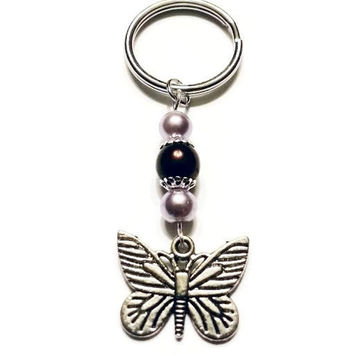 Butterfly Pearl Keychain, Butterfly Charm, Swarovski Pearl Keychain, Unique Birthday Gift, Gifts for Her