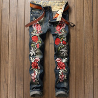European American Style famous brand luxury Men's denim trousers flower jeans Slim Straight Embroidery blue zipper mens jeans