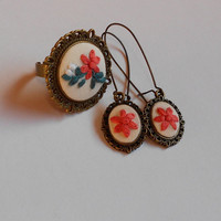 Cocktail Ring, Statement Ring, Dangle Earrings, Floral Jewelry, Vintage Jewelry, Fabric Jewelry, Handmade Jewelry, Ooak, Gift for Her